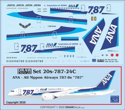 1:200 All Nippon Boeing 787-8 (with 787 titles)