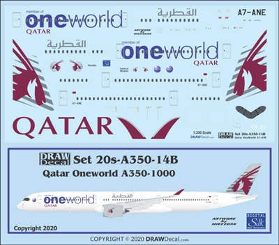 1:200 Qatar Airways 'OneWorld' Airbus A.350-1000