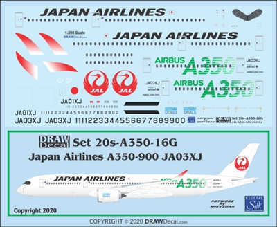 1:200 Japan Airlines Airbus A.350-900 (JA03XJ, green details)
