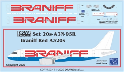 1:200 Braniff (red titles) Airbus A.320