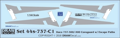 1:144 Boeing 737-300 / -500 Corogard (Daco kits, Top surfaces only, with wing escape markings) (Two Sets)