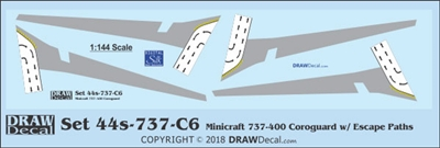 1:144 Boeing 737-400 Corogard (Minicraft kit, Top surfaces only, with wing escape markings) (Two Sets)