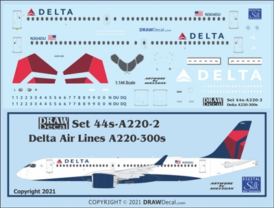 1:144 Delta Airlines (2007 cs) Airbus A.220-300
