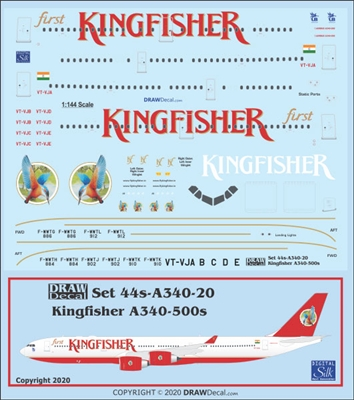 1:144 Kingfisher Airlines Airbus A.340-500