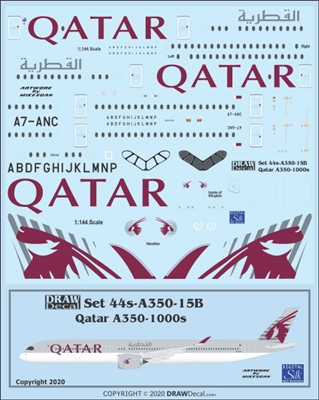 1:144 Qatar Airways Airbus A.350-1000