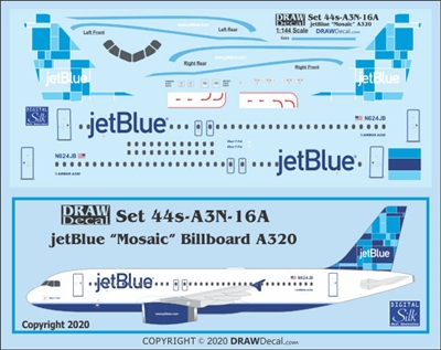 1:144 JetBlue Airbus A.320 'Mosaic' (billboard titles)