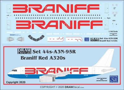 1:144 Braniff (red titles) Airbus A.320