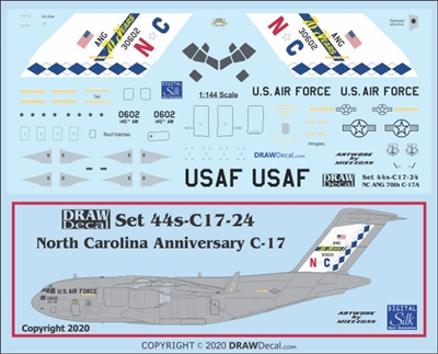 1:144 USAF North Carolina ANG  '70th Anniversary' McDD C17 Globemaster III
