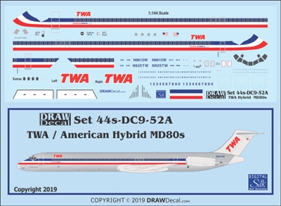 1:144 Trans World Airlines (American Airlines hybrid cs) McDD MD80