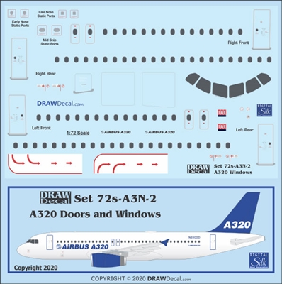 1:72 Airbus A.320 Door, Window and Windshield Set
