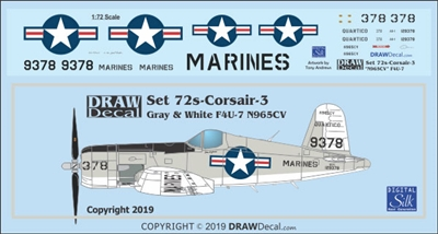 1:72 US Navy 'Gray and White' F4U-7 Corsair (N965CV)