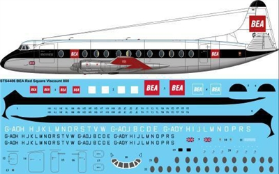 1:144 BEA (Red Square cs) Vickers Viscount 800