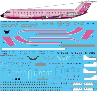 1:144 Court Line (lilac cs) BAC 1-11-500