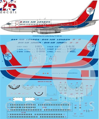 1:144 Dan Air London Boeing 737-200