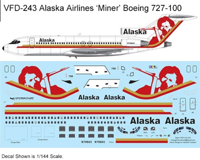 1:144 Alaska Airlines (red 'Miner' cs) Boeing 727-100