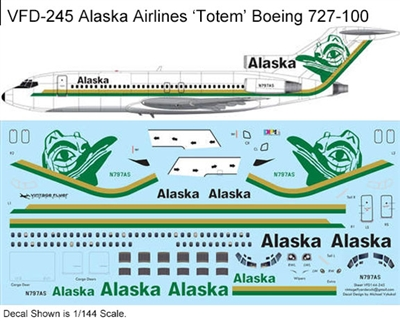 1:144 Alaska Airlines (green 'Totem' cs) Boeing 727-100