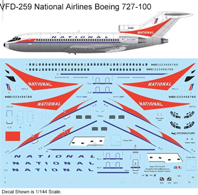 1:144 National Airlines  (delivery cs) Boeing 727-100 (Airfix kit)