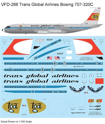 1:144 Trans Global Airlines Boeing 707-320C