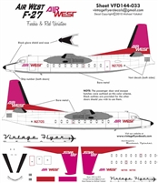 1:144 AirWest (pink/red cs) Fokker F.27