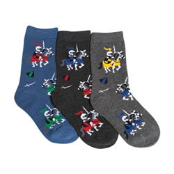 Tic Tac Toe Dueling Knights Boys Socks - 3 Pairs