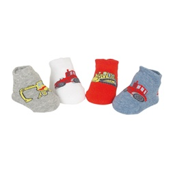 Sweet Feet 743 Trucking About Multi Baby Shoe Socks - 4 Pair