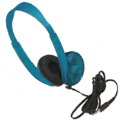 Califone 3060AV-BL Lightweight Stereo Headphones with Volum Control - Blueberry
