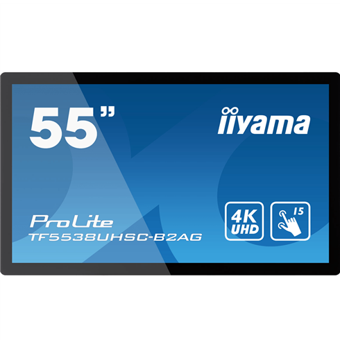 "iiyama ProLite TF5538UHSC-B2AG 4K 55"" 15pt Open Frame PCAP touch monitor with edge-to-edge glass"
