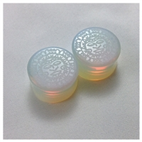 "Natural ""Aztec Moon"" Designed Opalite Stone Saddle Plugs"