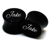 "Pair of Solid Black Acrylic Personalized ""Name"" Plugs"