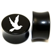 "Pair of Solid Black Acrylic ""Dove"" Plugs"