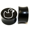 "Pair of Solid Black Acrylic ""Rubber Ducky"" Plugs"