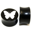 "Pair of Solid Black Acrylic ""Butterfly"" Plugs"