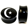 "Pair of Solid Black Acrylic ""Crescent Moon & Star"" Plugs"