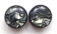 Pair of Black Acrylic Plugs with Organic Shell Face