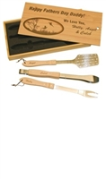 3 Piece BBQ Set in Wooden Pine Box