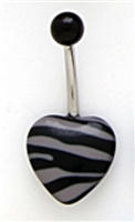 Acrylic Black and Gray Zebra Animal Print Bellybutton Navel Piercing Bar Jewelry Ring 14G 3/8""