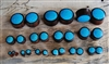 Pair of Brown Sono Wood and Blue Turquoise Stone Solid Plugs