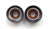 Pair of Concave Black Arang Wood and Coconut Center Tunnels