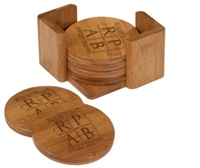3 3/4 x 3 3/4 Bamboo Round 6 Coaster Set with Holder