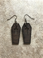 Organic Handmade Coffin Earrings made with Wenge Exotic Hardwood