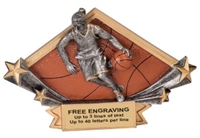 4 1/4 x 6 1/4 Female Basketball Diamond Star Resin