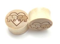 "Pair of ""Elephants In Love"" Organic Plugs"