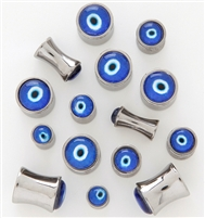 "Pair of ""Evil Eye"" 316L Surgical Steel Saddle Plugs"