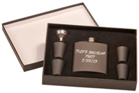 6 oz Matte Black Flask Set in Black Presentation Box