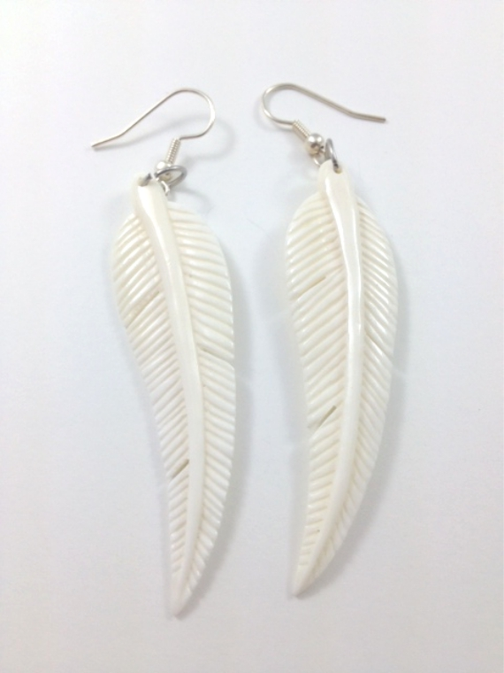 Pair Of Organic Hand Carved Feather Earrings