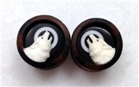 "Pair of Limited Edition Brown Sono & Hand Carved Bone ""Howling Wolf"" Tunnels"