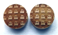 "Custom Handmade LIMITED EDITION ""Inverted 8-Bit Ghosts"" Organic Wood Plugs - ONLY 50 will be made"