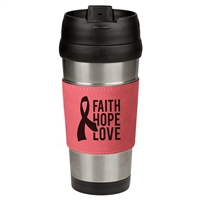 16 oz. Stainless Steel Mugs w/ Leather Sleeve