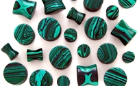 Pair of Malachite Stone Saddle Plugs