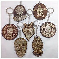 Custom Organic Wooden Designed Key Chains